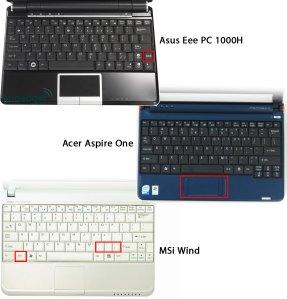 เปรียบเทียบ keyboard ข�ง Netbook ที่ใช้ HDD